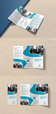 Creative Marketing Agency Trifold Brochure = Photoshop Psd file = 300 DPI CMYK Colour = Size 11×8.5 Print Ready Format = 100% Layered and Full Editable = Smart Object Image Change = Help Guide Included Font Used Free Font #brochure #template #Brochures #PSD #Photoshop 3 Fold Brochure, Brochure Template, Corporate Business, Business Brochure, Graphic Design Templates, Modern Fonts, Brochures, Cool Designs, Photoshop