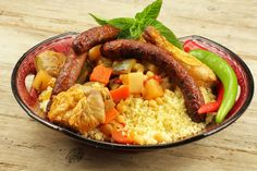 Couscous royale - A Versant Moussaka, Food N, Food And Drink, Fava Beans, Fresh Coriander, Spice Mixes, Salad Bowls, Pot Roast, Sausage
