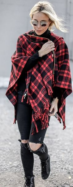 Red Checked Hooded Poncho Streetstyle Inspo by Happily Grey