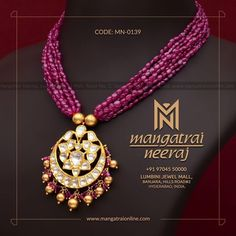 Handcrafted jewellery from Mangatrai Neeraj! For queries and purchase, Call us or Whats-app us on 97045 40000 Visit our store at Lumbini… Gold Jewellery Design, Bead Jewellery, Beaded Jewelry, Jewelery, Gold Jewelry, Clay Jewelry, Pearl Jewelry, Antique Jewelry, Jewelry Patterns