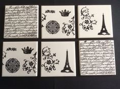 French Style Drink Coasters stamped on tiles using Stampin' Up! Artistic Etchings and En Francais stamp sets. www.debzhouse.blogspot.com/