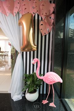 Balloon and flamingo from a Flamingos and Pineapples Tropical Birthday Party on Kara's Party Ideas | KarasPartyIdeas.com (14)