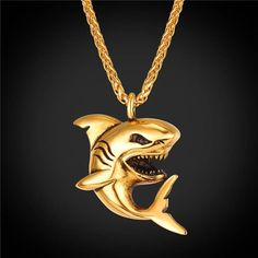 Shark Pendant Necklace 18k Gold Plated Marine Organism Animal Rock Punk Jewelry For Men