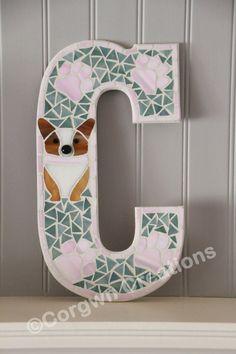 Pembroke Welsh Corgi Mosaic Letter C