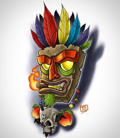 Aku Aku, Crash Bandicoot Cartoon Drawings, Cartoon Art, Art Drawings, Graffiti Drawing, Graffiti Art, Aku Aku Tattoo, Crash Bandicoot Tattoo, Tiki Maske, Badass Drawings