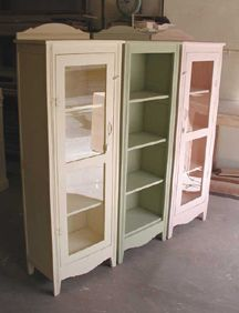 SHABBY CHIC VINTAGE FLOOR CABINET, GLASS CASE CHINA HUTCH GLASS KNOBS BEAD BOARD