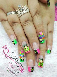 Manicure Nail Designs, Toe Nail Designs, Nail Manicure, Love Nails, My Nails, Finger Nail Art, Disney Nails, Best Acrylic Nails, Nail Decals