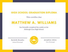 Use this customizable Yellow Seal Diploma Certificate template and find more professional designs from Canva. High School Diploma, High School Graduation, Vice Principals, Certificate Templates, School Design, Seal, Yellow, Purple, Viola