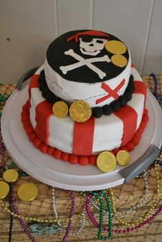 Awesome cake at a Pirate Birthday Party!  See more party ideas at CatchMyParty.com!