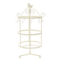 "<P>This antique looking cream jewellery holder features a bird figure with hooks for and holes for all kinds of jewellery. The great thing about this jewellery holder is the face that it spins so its perfect for finding all of your favourite accessories fast!</P><UL><LI>H 14""/32cm <LI>Metal</LI></UL>"