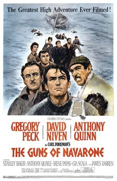 The American one-sheet movie poster for Fox's The Guns of Navarone (1961), starring Gregory Peck, David Niven, and Anthony Quinn.