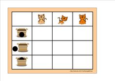 Board for the preposition and cat matrix. By Autismespektrum.