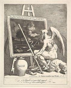 'Time Smoking a Picture' March 1761 by William Hogarth (British, London). third state of three Harris Brisbane Dick Fund, 1932 William Hogarth, Satire, Danse Macabre, Gravure, Artist Canvas, British Museum, Metropolitan Museum, Artist At Work, Art Museum