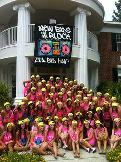 "Zeta Tau Alpha Zeta Xi Chapter new members on Bid Day at Georgia Southern University. They ""rocked"" their ""New Bids on the Block"" theme! | #ZTA #ZetaTauAlpha"