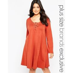 Alice & You Lace Up Swing Dress ($30) ❤ liked on Polyvore featuring dresses, plus size, rust, tent dress, tall plus size dresses, red swing dress, eyelet dress and swing dress