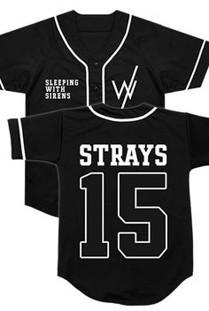 Sleeping With Sirens   Merch Store - Team Strays Baseball Jersey (Black)