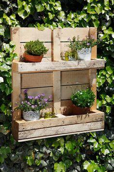 Gemaakt van een oude pallet, maar oh zo leuk: deze simpele plantenbak. Hang 'm in de tuin aan de muur en zet je favoriete planten erin.