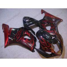 Suzuki GSX-R 1000 2003-2004 K3 Injection ABS Fairing - Flame Red - Black(without Suzuki logo) | $639.00