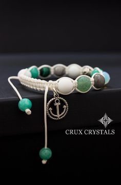 Anchor Charm Women's Shamballa Charm Bracelet Wrap by CruxCrystals