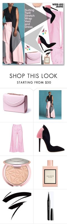 """""""Flare Up: Wide-Leg Jeans (Work Wear)"""" by jecakns ❤ liked on Polyvore featuring Lauren Cecchi, MSGM and Gucci"""