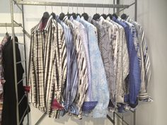 A rack of our JB i.d. shirts at the Mrket Show.