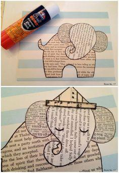 Слон из газетной и нотной бумаги - детская аппликация 8