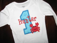 Personalized Crab Birthday Shirt or Bodysuit- many fabrics and colors to choose from- great for summer birthdays.