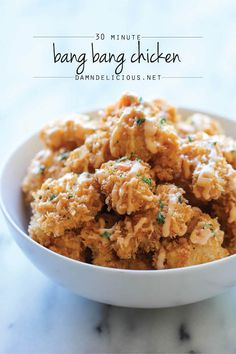 Bang Bang Chicken - Amazingly crisp chicken bites drizzled with sweet chili mayo - so good, you'll want to double or triple the recipe!