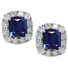 Pre-owned Platinum with 8.40ct Blue Sapphire and 3.69ct Diamond Button... ($72,445) ❤ liked on Polyvore featuring jewelry, earrings, platinum jewellery, platinum jewelry, preowned jewelry, pre owned jewelry and blue sapphire earrings
