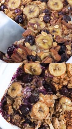 Banana Berry Baked Oatmeal Banana Berry Crunch Baked Oatmeal is a simple, healthy and delicious way to start your day! This easy recipe is made with coconut milk, rolled oats, fresh bananas, berries and maple syrup. Best Oatmeal Recipe, Rolled Oats Recipe, Healthy Oatmeal Recipes, Healthy Baking, Oats Recipes, Healthy Food, Healthy Blackberry Recipes, Banana Recipes Videos, Oatmeal Breakfast Recipes