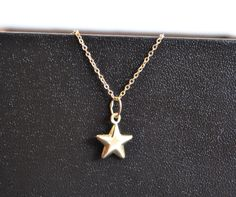 14k solid GOLD STAR NECKLACE by JBeseda on Etsy Star Necklace, Pendant Necklace, Christmas Star, 14 Karat Gold, Gold Stars, Beautiful Necklaces, Gold Chains, Solid Gold, Vintage Jewelry