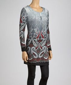 Another great find on #zulily! Black & Crimson Abstract Scoop Neck Tunic #zulilyfinds