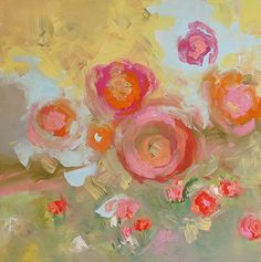 Original Floral Painting Abstract Art Roses Modern por lindamonfort, $270.00
