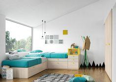Dormitorio juvenil en L tres camas.
