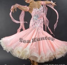 Ballroom Smooth Standard Dance Competition US6 Dress Costume #B3283 Sequins Pink