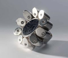 Classic ring by Vero Lázár, silver, resin, glass mosaic, giant ring Mosaic Glass, Baroque, Cufflinks, Classic, Rings, Floral, Silver, Resin, Accessories