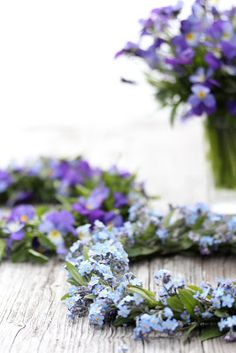 Blue and lavender flowers.