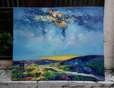 Beautiful Starry Night Painting, Night Sky Paintings, Hand Painted Can Canvas Painting Landscape, Hand Painting Art, Painting Abstract, Landscape Art, Canvas Paintings For Sale, Canvas Art, Oil Paintings, Painted Canvas, Hand Painted