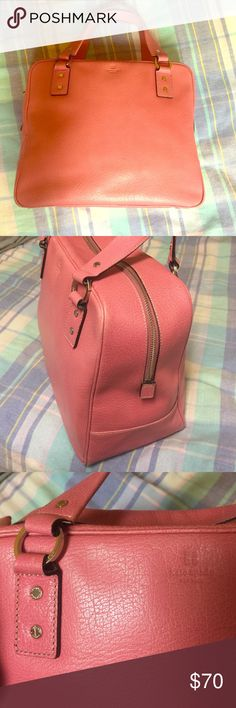 Kate Spade- large purse in cute pink leather! Kate Spade- authentic pink leather bag in very good condition. Only a little fading in corners but not visible. Inside lining is clean. Large boxy shape is very versatile! Offers welcome! kate spade Bags Totes