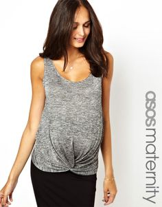 ASOS Maternity | ASOS Maternity Exclusive Tank With Knot Detail In Shimmer at ASOS