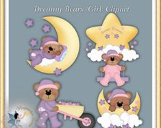 Baby Clipart, Teddy Bear, Digital Scrapbook, Commercial Use, Dreamy Bears Girl Clipart Clipart Boy, Cute Clipart, Calendar Stickers, Bear Girl, Mural Wall Art, Hang Tags, Baby Quilts, Note Cards, Digital Scrapbooking