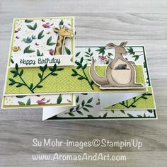 Aromas and Art - Su Mohr, Independent Stampin' Up! Demonstrator, and Independent Young Living Distributor Fun Fold Cards, Folded Cards, Kids Cards, Baby Cards, Animal Cutouts, Birthday Cards For Boys, Handmade Card Making, Cardmaking And Papercraft, Send A Card