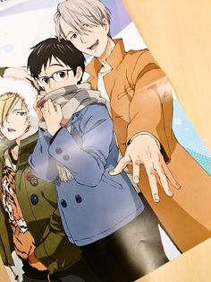 "sunyshore: "" New Yuri, Yurio, and Victor illustration in this month's Otomedia! """