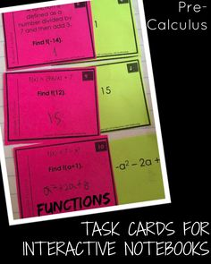 Using task cards in interactive notebooks are great for self-checking. love this set for precalculus functions. Math Resources, Math Activities, Precalculus, Thing 1, Secondary Math, Education Quotes For Teachers, Elementary Science, Creative Teaching, Interactive Notebooks