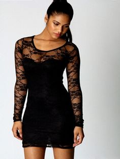 Sexy Floral Lace Hollow Out Bodycon Party Dress. If i could look like that
