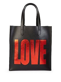 Givenchy Love Leather Tote - Black-Red