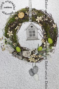 #dekorační #velikonoční přírodní #věnec. Grapevine Wreath, Grape Vines, Terrarium, Bunny, Wreaths, Halloween, Spring, Diy, Design