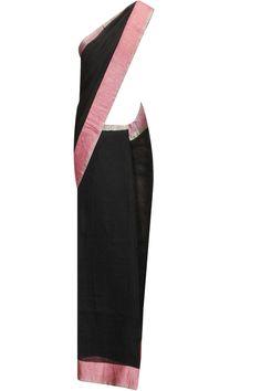 Black herringbone pink border sari by Anavila. Shop now:  http://www.perniaspopupshop.com/designers/anavila #sari #anavila #shopnow #perniaspopupshop