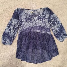 Urban Outfitters Sheer Blue Blouse Urban Outfitters Sheer Blue Blouse. Floral Pattern. Buttons down front. XS. 100% Polyester. Urban Outfitters Tops Blouses