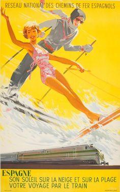 Sun on the Snow and Beach Ski Spanish State Railways 1949